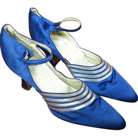grande shoes 1920 s vintage deco blue silk ankle shoes