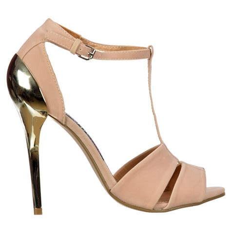 gold strappy mid heel sandals shoekandi t bar peep toe mid heels gold heel strappy