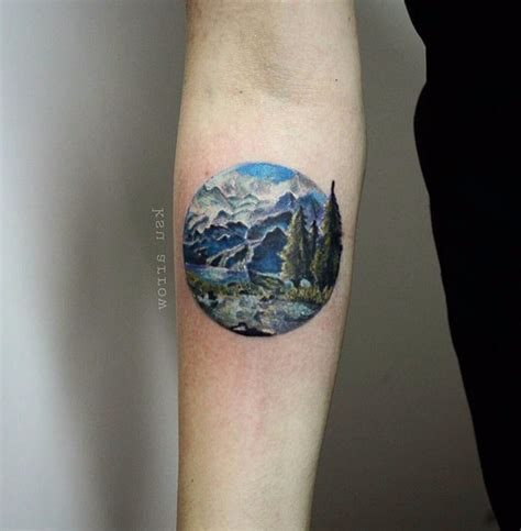 mountain scene tattoo 67 mountain tattoos on sleeve