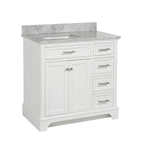 White Bathroom Vanity With Marble Top by Shop Allen Roth Roveland White Undermount Single Sink