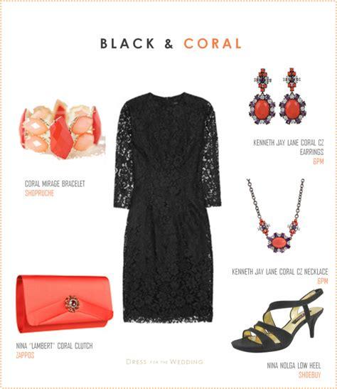 black dress  coral accessories
