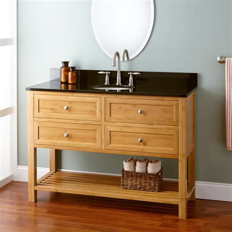 narrow depth alcott bamboo vanity  undermount sink bathroom