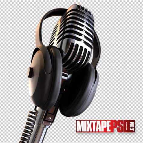 free microphone with earphones psd template mixtapepsd
