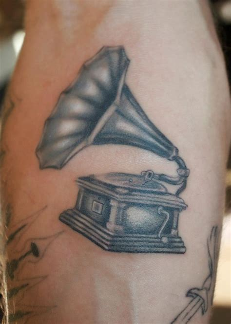 player tattoo designs phonograph record player or gramophone brush realistic