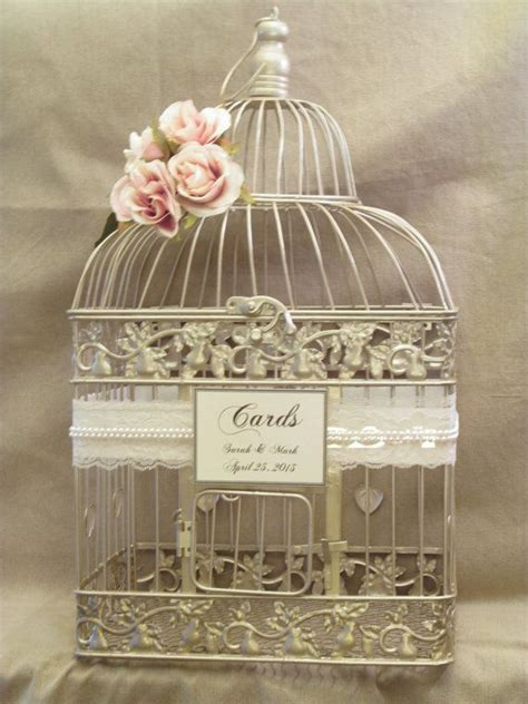 On Sale Wedding Card Box / Champagne Birdcage / Pearls