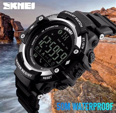 Smart Skmei 1226 Bluetooth Pedometer Water Resist 50m Blue 1 skmei jam tangan olahraga smartwatch bluetooth dg1226 bl black jakartanotebook