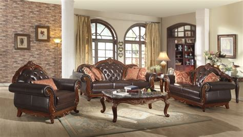 tufted living room furniture traditional dark brown button tufted leather living room