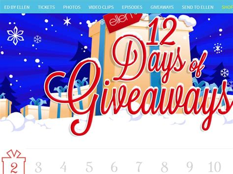 Today S Giveaways And Sweepstakes - ellentv com 12 days of giveaways sweepstakes