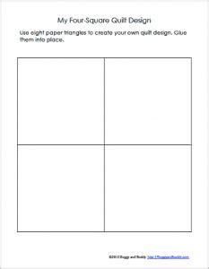 four square template geometry for quilt activity using triangles free printable buggy and buddy