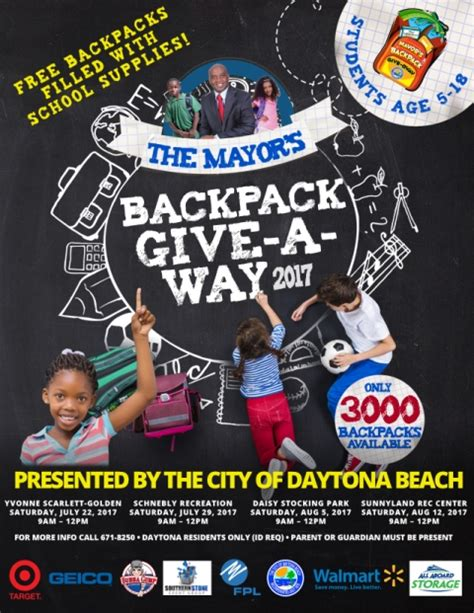 Backpack Giveaway 2017 - backpack giveaway in daytona beach july august 2017 volusia county moms