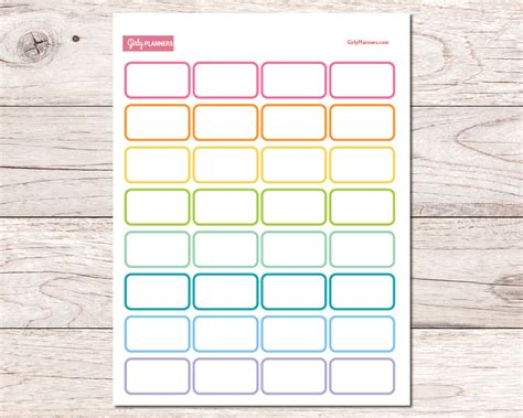 printable planner boxes 64 half boxes printable planner stickers girly planners