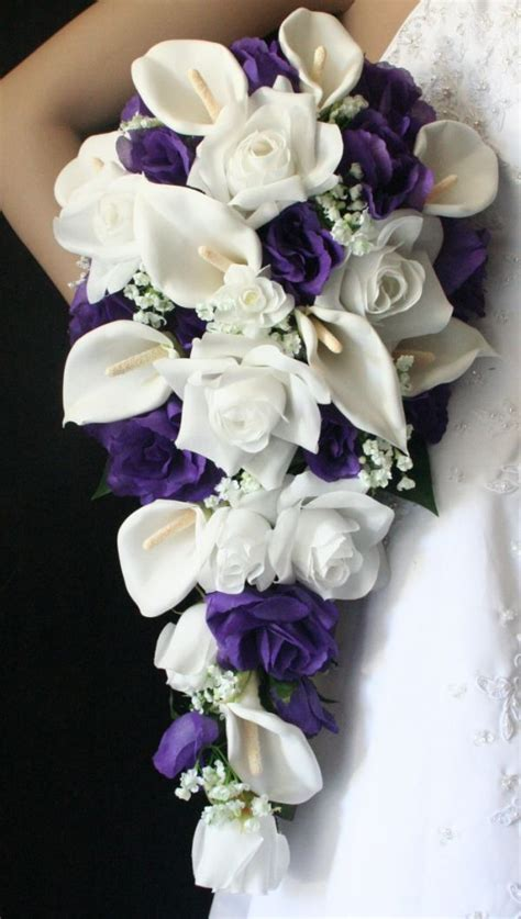 white calla lily white babies breath purple roses cascading bouquet cascading bridal