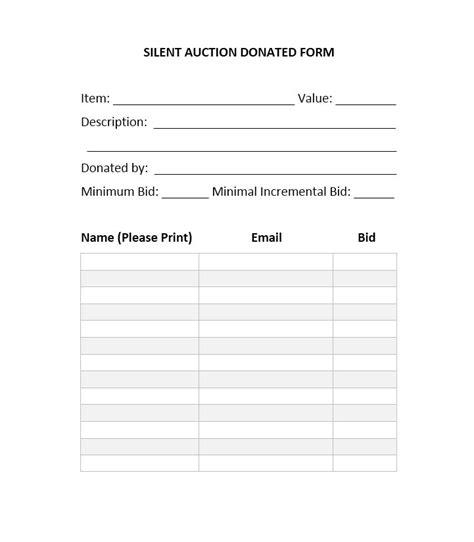 silent auction bid sheet template present concept printable soap