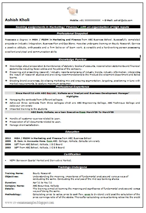 resume format for mba finance fresher templates 10000 cv and resume sles with free beautiful mba finance marketing resume sle