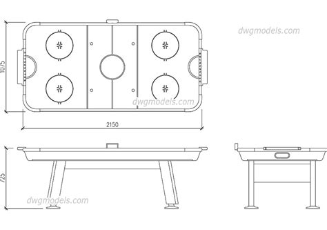 air hockey table length air hockey table dwg size free autocad blocks download