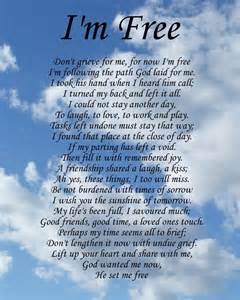 i m free memorial poem birthday mothers day funeral