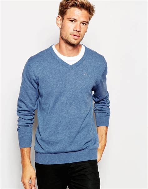 Sweater Esprit esprit cotton v neck knitted sweater in blue for lyst