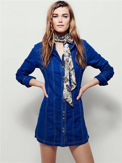Dress Tunik Denim Free Belt Kemeja Dress Denim free denim tunic in blue lyst