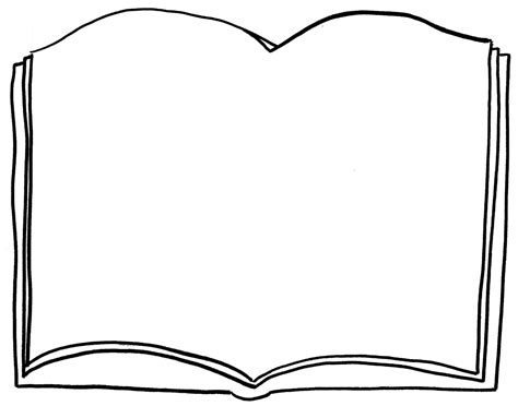 book shape template open book coloring page clipart best