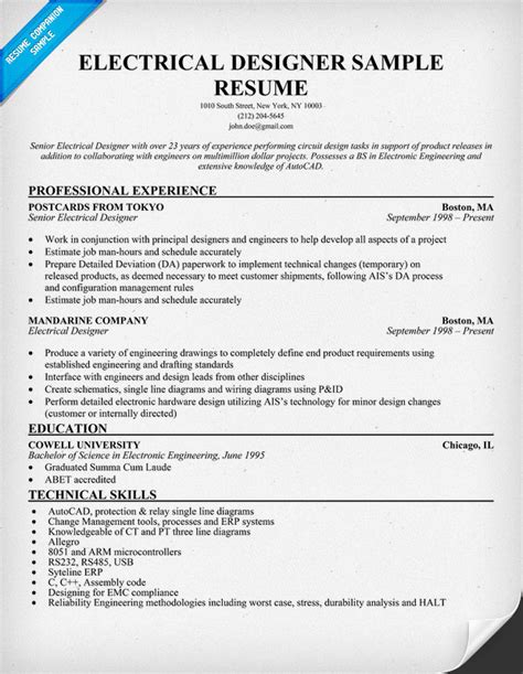 resume format for electrical technician electrical engineer resume template business