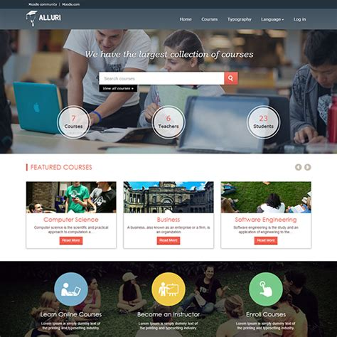 moodle theme course alluri responsive moodle theme for online learning platform