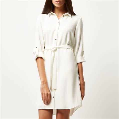 river island belted shirt dress in white