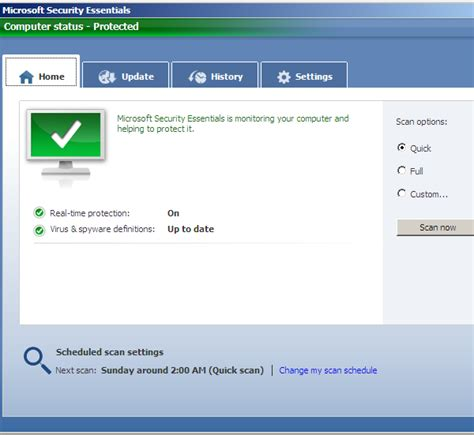 microsoft security essentials screen