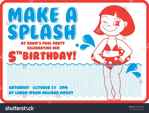 retro birthday card template vintage birthday pool invitation card stock vector