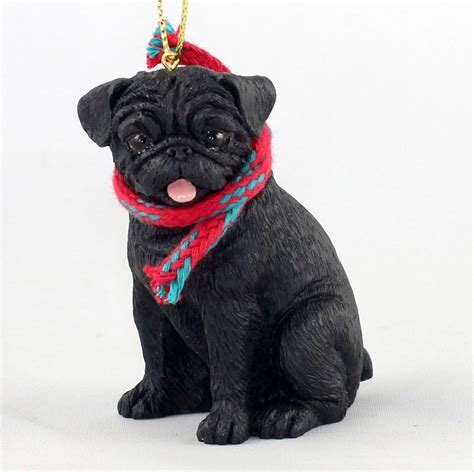 black pug figurine pug ornament scarf figurine black ebay