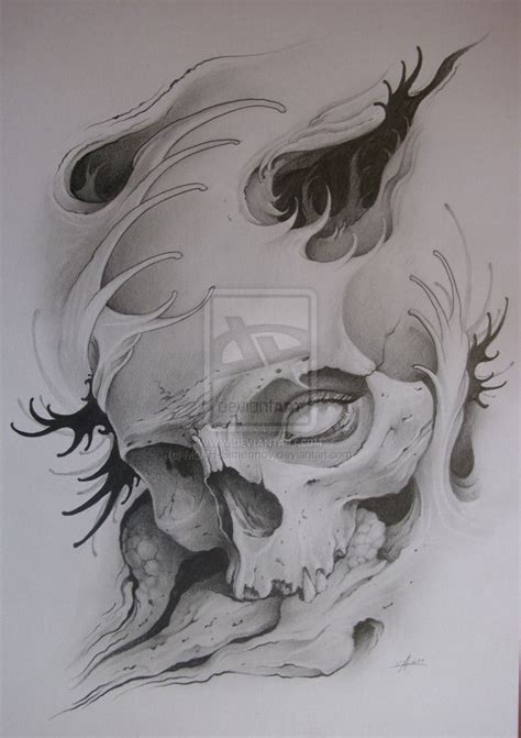 skull tattoo drawings moth simeonov skull