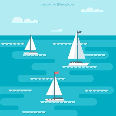 sailing boat background background of boats sailing in flat design vector free