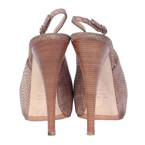 Wooden Platform Peep Toes From Tapeet By Vicini by Giuseppe Zanotti Python Peep Toe Wood Stacked Slingback