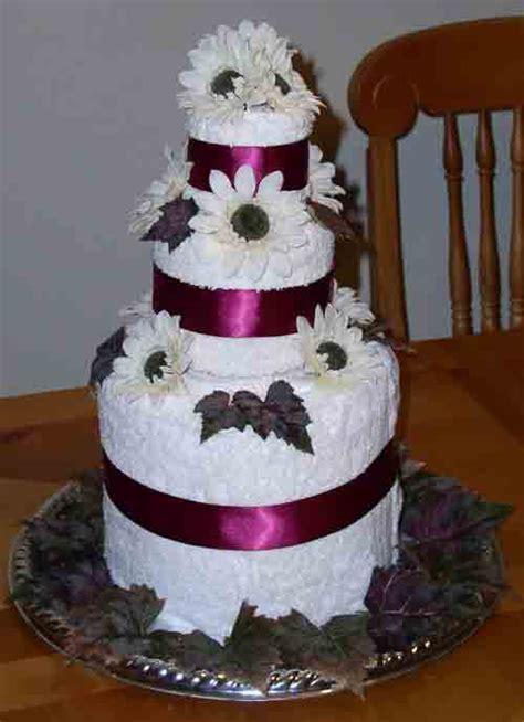 Bridal Shower Idea Towel Wedding Cake by Bridal Shower Towel Cake