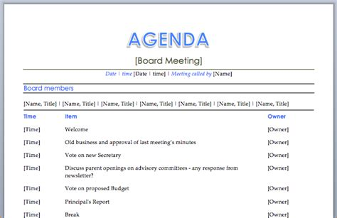 11 how to create a meeting agendaagenda template sle