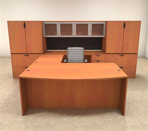 U Shaped Office Desk 7pc U Shaped Modern Contemporary Executive Office Desk Set Of Con U16 H2o Furniture