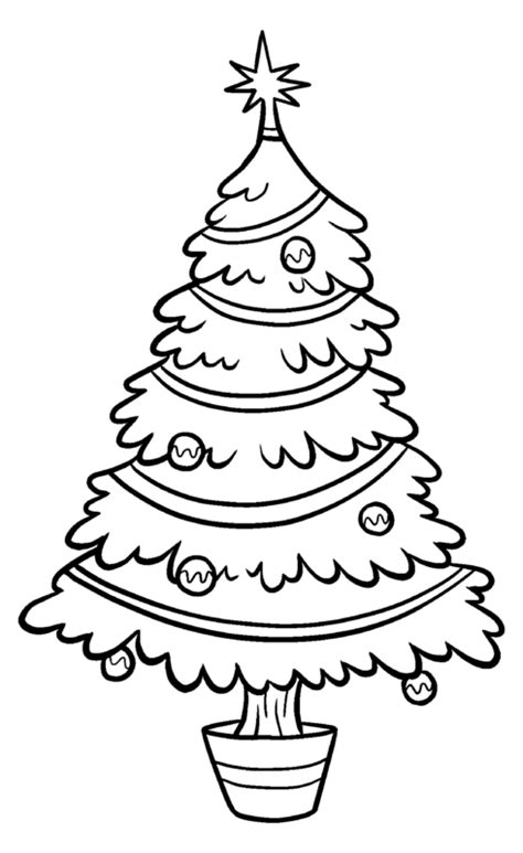 christmas tree clip art bw tims printables