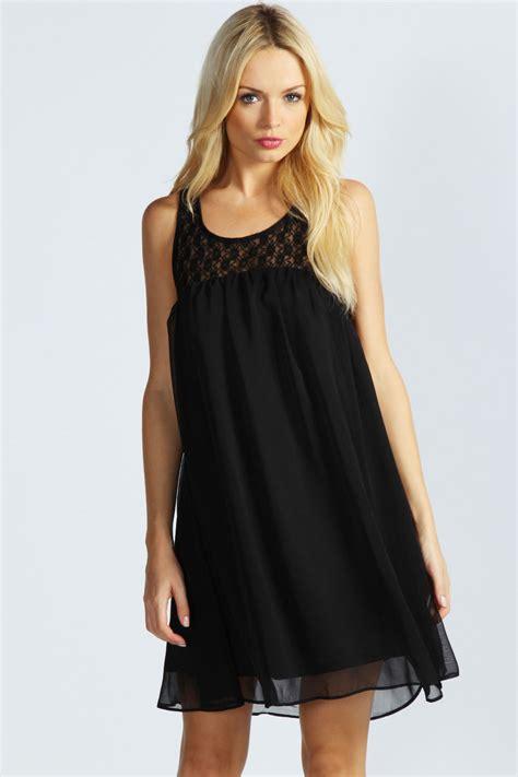 Swing Chiffon Dress boohoo lace back detail chiffon swing dress ebay