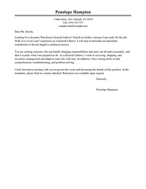 Sle Of General Cover Letter by General Labor Cover Letter Sle My Cover Letter