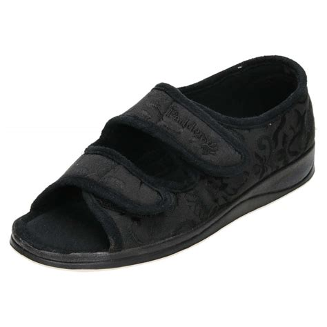 wide slippers padders lydia ee wide fitting washable open toe slippers
