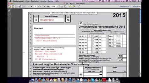 Muster Angebot Pv Anlage Umsatzsteuervoranmeldung Ausf 252 Llen Beispiel Freiberufler