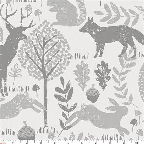 Gray Woodland Animals Fabric by the Yard   Gray Fabric