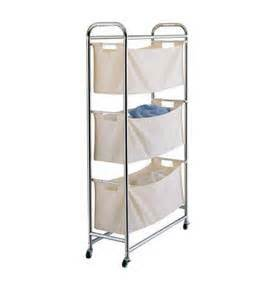 vertical laundry hamper chrome amp canvas three tier laundry sorter in laundry sorters