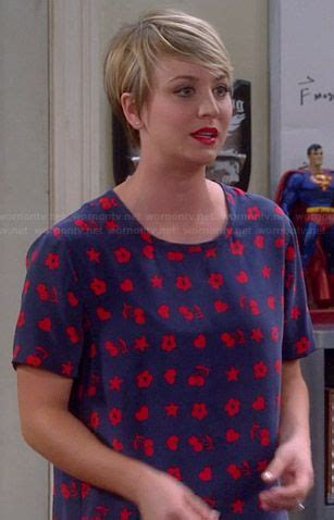 penny big bang theory short hair why penny s blue and red heart cherry and flower print top on
