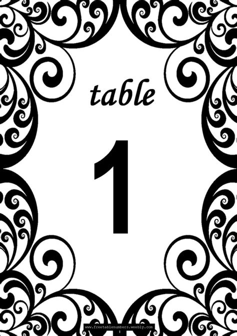 free swirls printable diy table numbers free table numbers