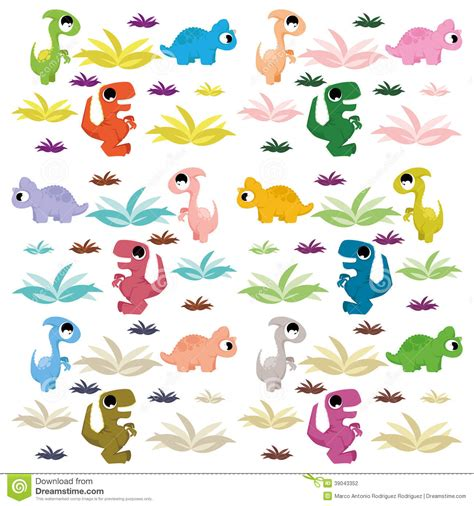 Dinosaurs Wall Stickers cartoon cute and colorful group of dinosaurs stock vector