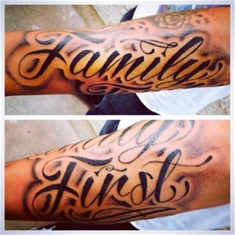 family first forearm decorate tattoo design idea for men