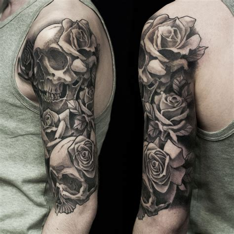 skull and rose tattoo sleeve skull and half sleeve done at dublin ink tattoos