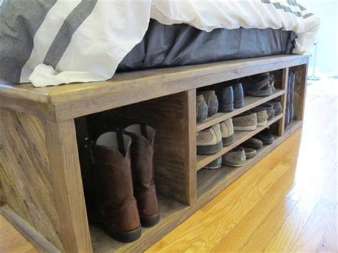 diy pallet bed with storage plans diy pallet bed with storage and headboard 101 pallets