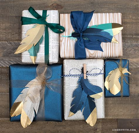 Handmade Wrapping Paper Ideas - beautiful gift wrapping idea using paper feathers diy