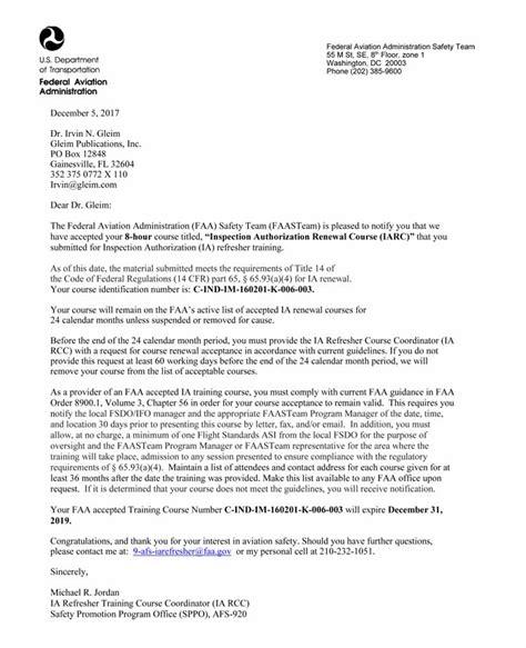 certification acceptance letter iarc faa acceptance letter gleim aviation